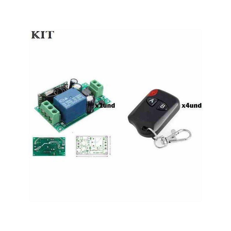 RECEPTOR RF 433MHZ 85V -220V AC UN CANAL + 4 CONTROLES 2CH
