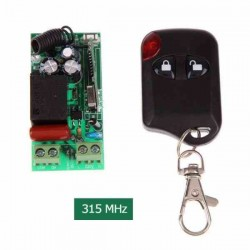 CONTROL REMOTO RF 315MHZ+ RECEPTOR 110V 220V CON RELE + CAJA